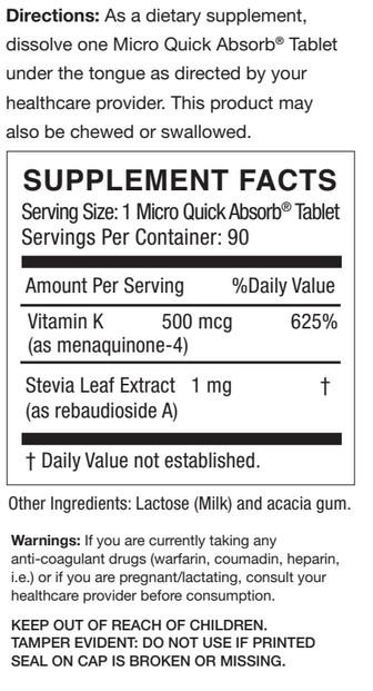 Frunutta Sublingual Vitamin K2 MK4 Label