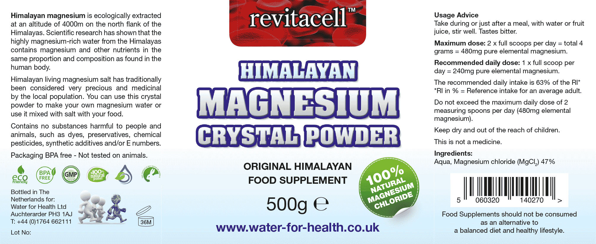 Magnesium Crystal Powder Supplement Facts