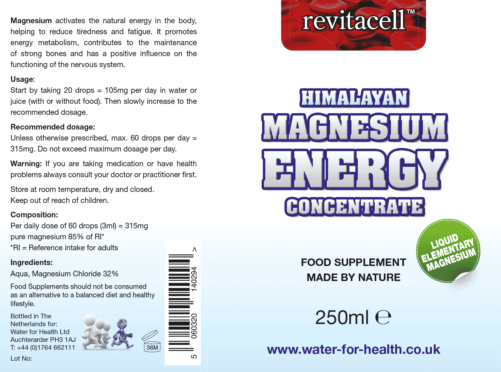 Magnesium Energy Concentrate Supplement Facts