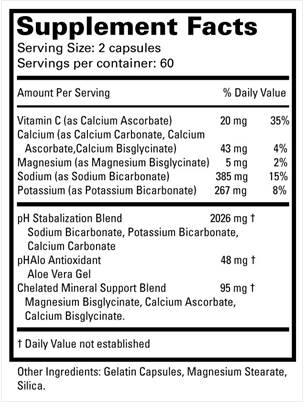 pHAlo Supplement Facts Label