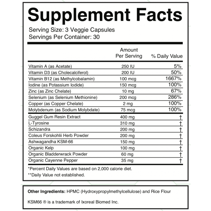 Thyroid Zone Supplement Facts