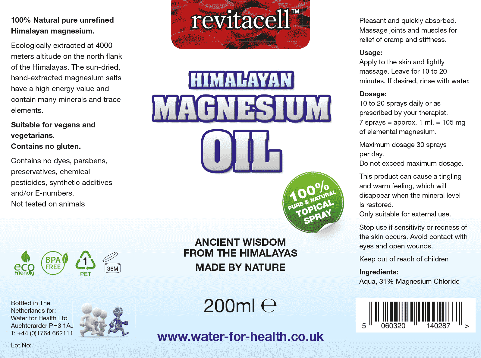 Magnesium Chloride Oil Supplement Facts