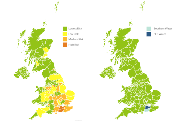 Two UK maps side by side, showing colour-coded water statistics by area