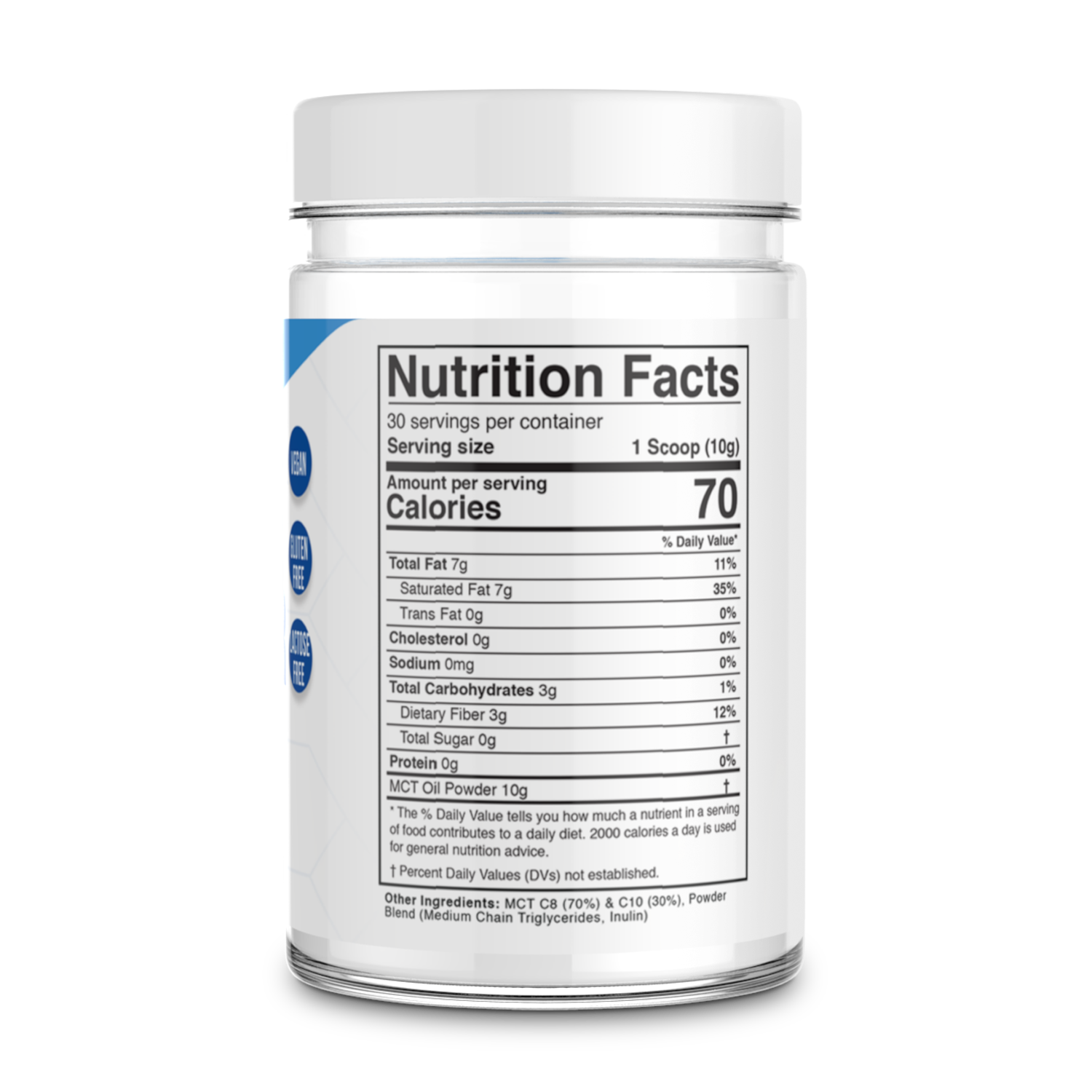 Unflavoured MCT Oil Powder Supplement Facts